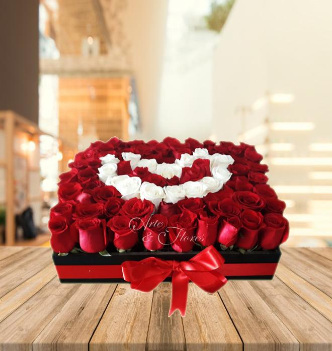 Caja De Rosas Blancas Y Rojas Arte Y Flores Cali