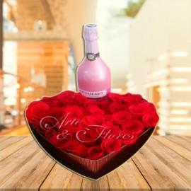 Caja de rosas con Vino J.P CHENET